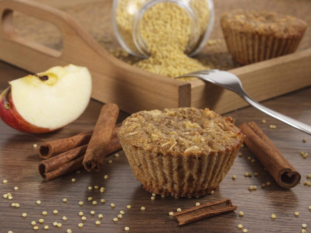 Apple-cinnamon-oat bran muffin