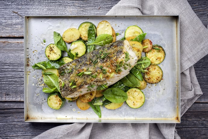 Baked Fish with Marrows and Squash
